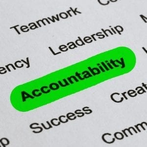 page full of works with the word accountability highlighted in green